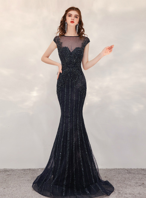 Sexy Black Mermaid Tulle Cap Sleeve Illusion Prom Dress