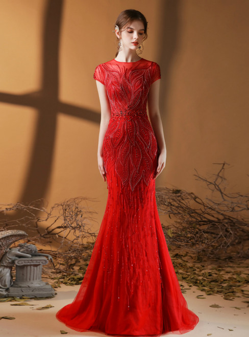 Sexy Red Mermaid Tulle Beading Sequins Cap Sleeve Prom Dress