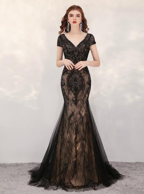 Black Mermaid Tulle Lace Cap Sleeve Beading Prom Dress