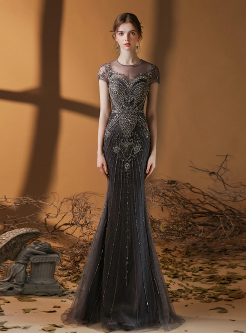 Dark Gray Mermaid Tulle Beading Sequins Cap Sleeve Prom Dress