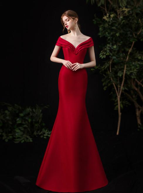 Simple Red Mermaid Satin Cap Sleeve Pleats Long Prom Dress