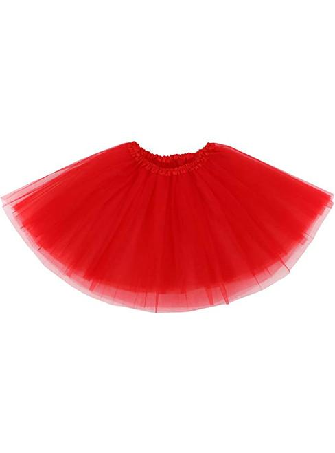 Women Red Tulle Short Tutu Skirt