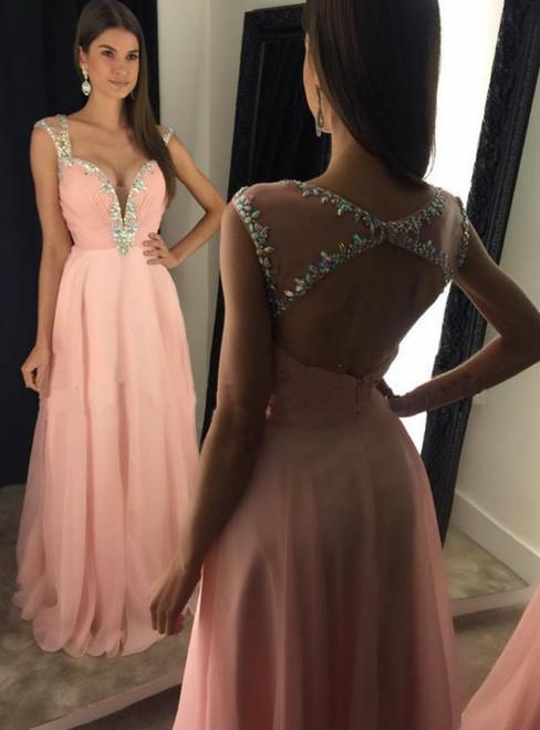 Pink A-Line Chiffon Long Prom Dress Beautiful Crystal Sleeveless Backless