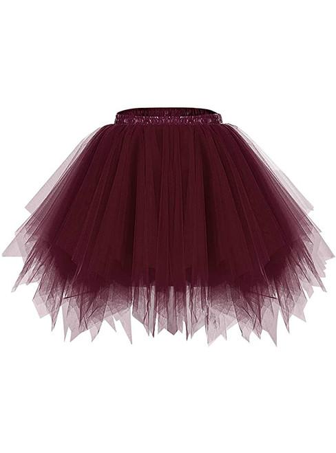 Dark Burgundy Tulle Party Tutu Skirt