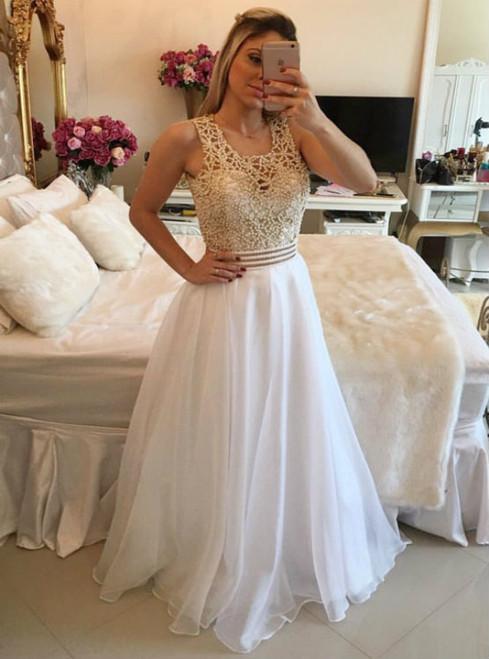 White A-line beads chiffon long prom dress  white evening dress