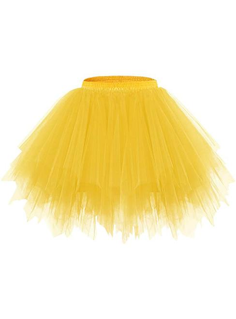 Dark Yellow Tulle Short Tutu Skirt