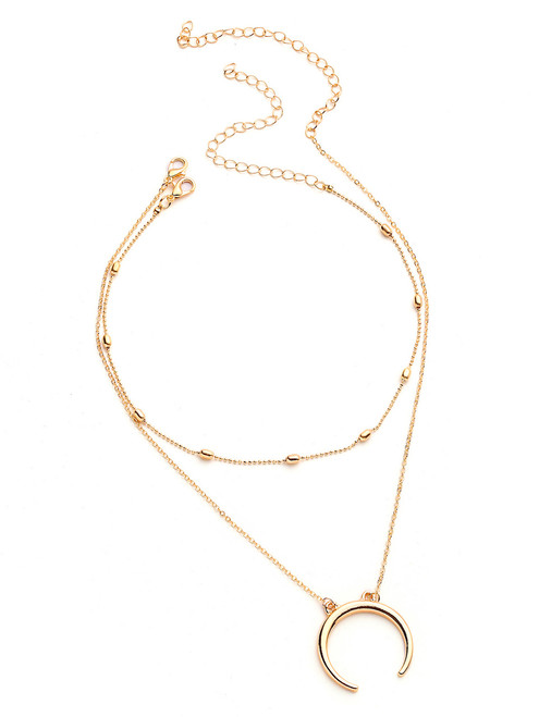 Cheap Sequin And Moon Decorated Chain Necklace