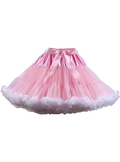 Pink White Puffy Tulle Tutu Skirt
