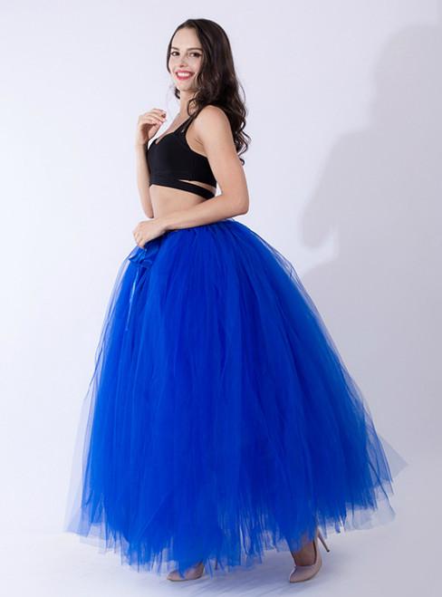 Royal Blue Tulle Long Tutu Skirt