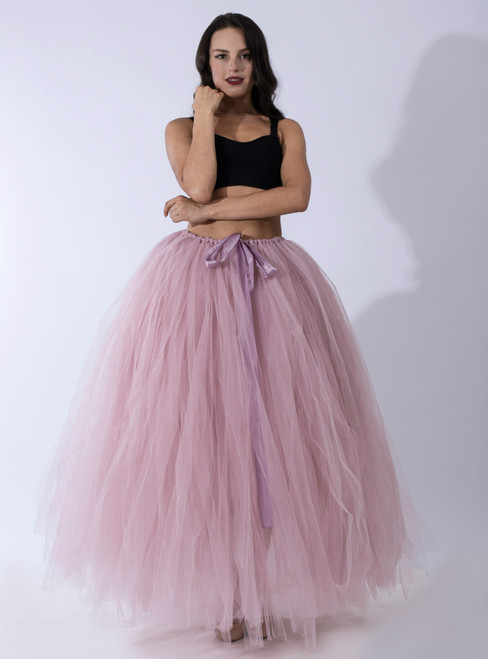 Dusty Pink Tulle Long Tutu Skirt