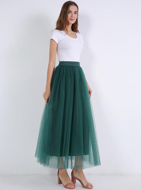Dark Green Mesh Tulle Tutu Skirt
