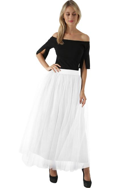 Women White Tulle Tutu Skirt