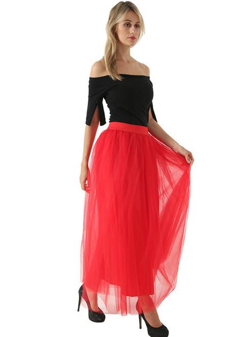 Women Red Tulle Tutu Skirt