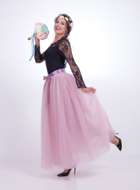 Dusty Pink Gauze Mop Floor Long Skirt