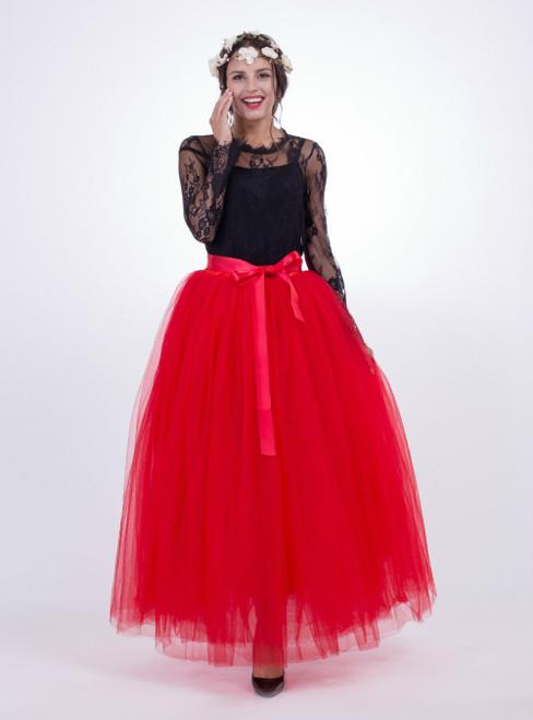 Red Gauze Mop Floor Long Skirt