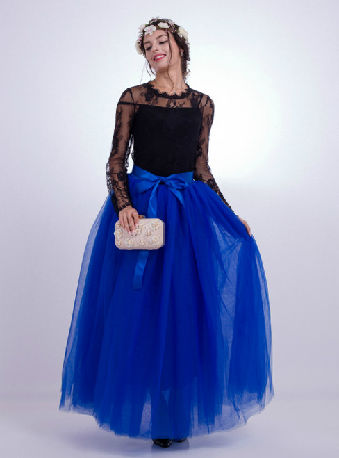 Royal Blue Gauze Mop Floor Long Skirt