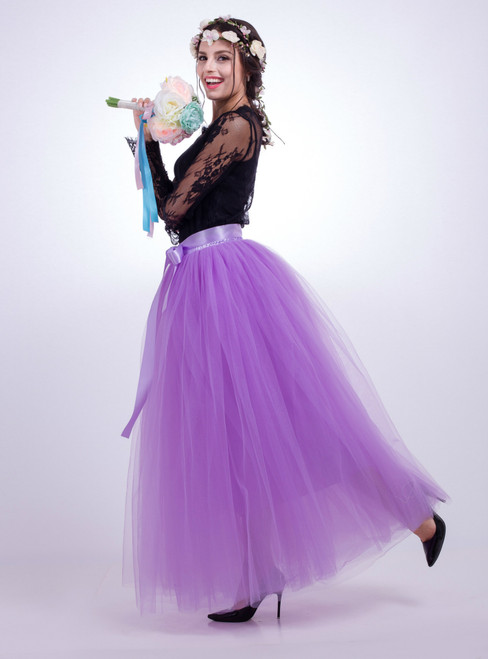Lavender Gauze Mop Floor Long Skirt