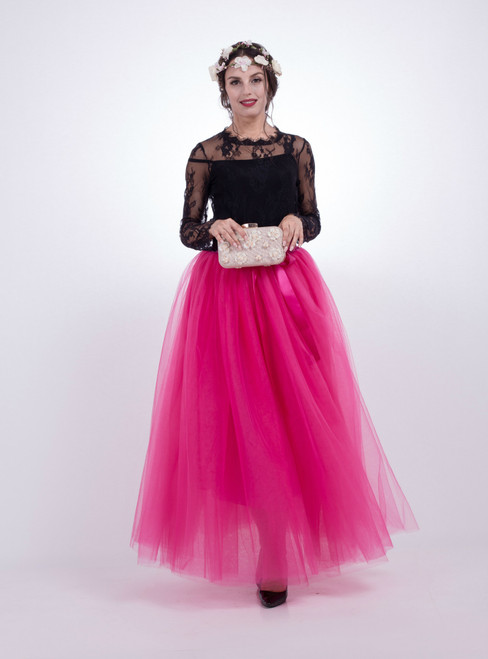 Fuchsia Gauze Mop Floor Long Skirt