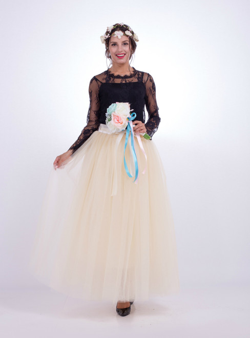 Beige Gauze Mop Floor Long Skirt