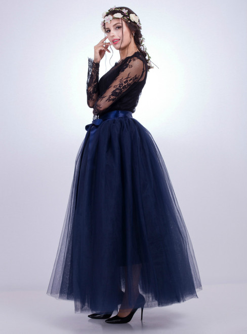 Navy Blue Gauze Mop Floor Long Skirt