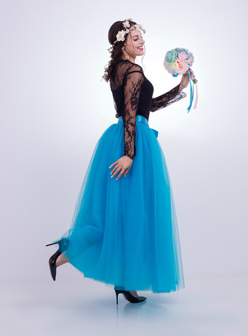 Blue Gauze Mop Floor Long Skirt
