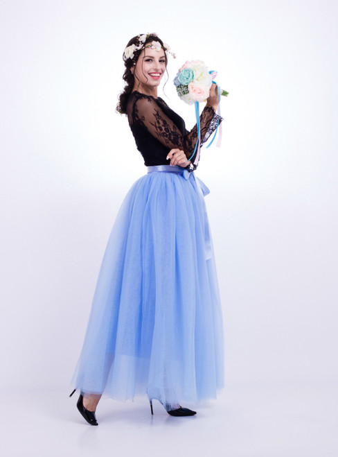 Lake Blue Gauze Mop Floor Long Skirt