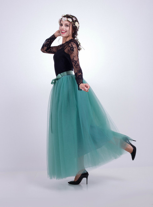 Light Green Gauze Mop Floor Long Skirt