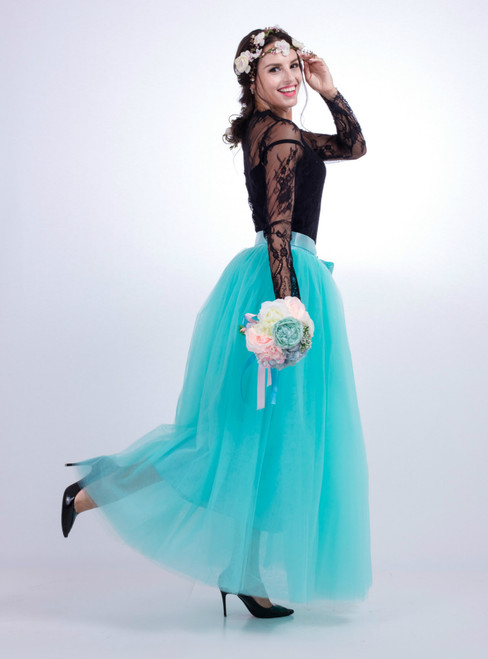 Mint Green Gauze Mop Floor Long Skirt