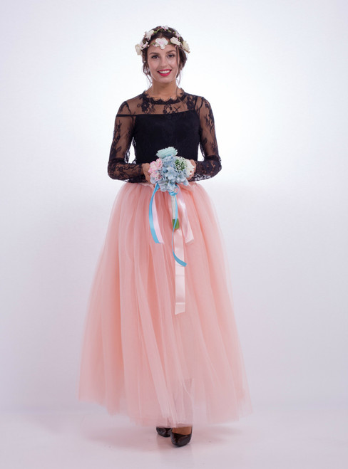 Peach Pink Gauze Mop Floor Long Skirt