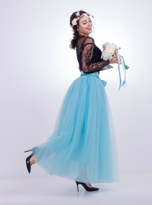 Sky Blue Gauze Mop Floor Long Skirt