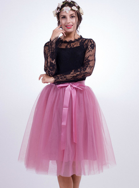 Rubber Pink Gauze Belt Puff Tulle Skirt