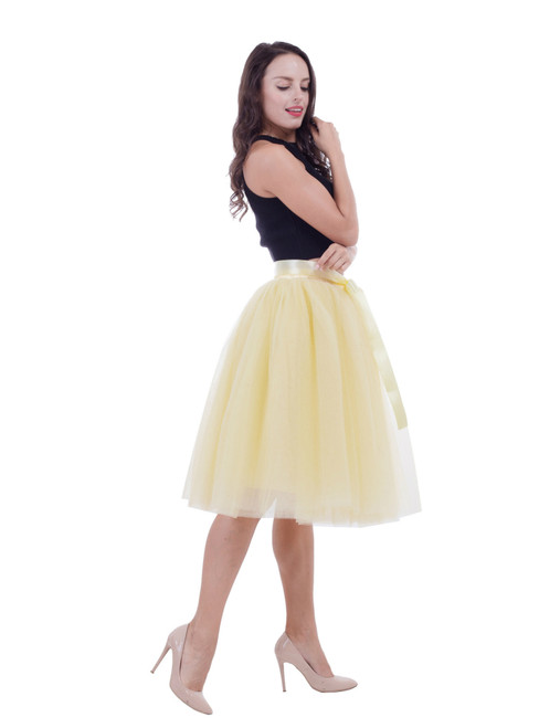 Yellow Gauze Belt Puff Tulle Skirt