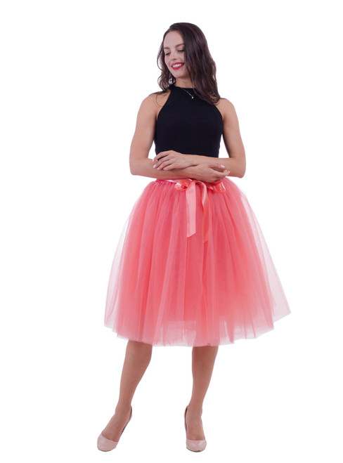 Watermelon Red Gauze Belt Puff Tulle Skirt