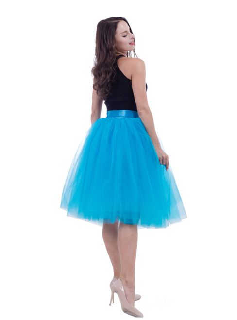Blue Gauze Belt Puff Tulle Skirt