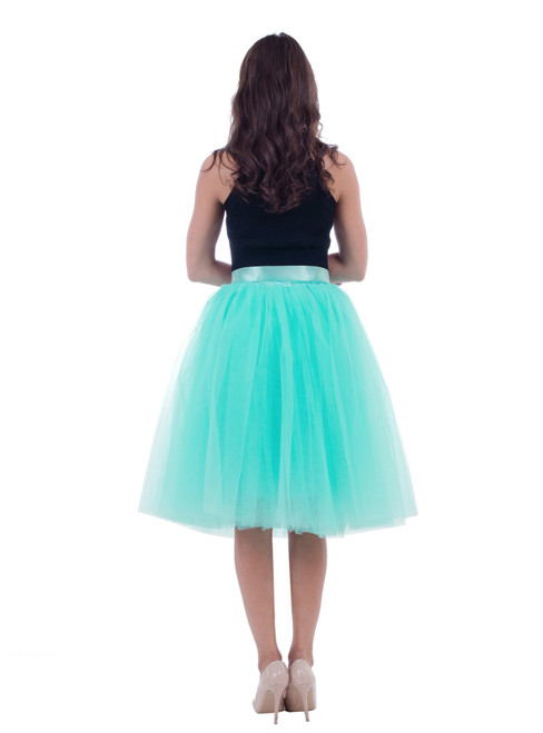 Mint Green Gauze Belt Puff Tulle Skirt