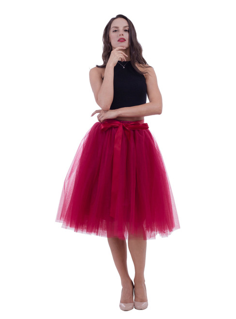 Burgundy Gauze Belt Puff Tulle Skirt