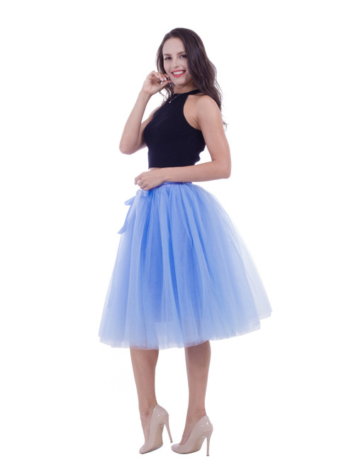 Lake Blue Gauze Belt Puff Tulle Skirt