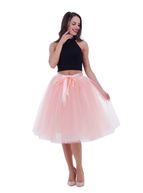 Peach Pink Gauze Belt Puff Tulle Skirt