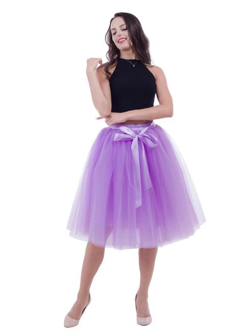 Lavender Belt Puff Tulle Skirt