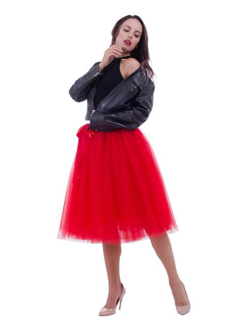 Red Belt Puff Dance Tulle Skirt