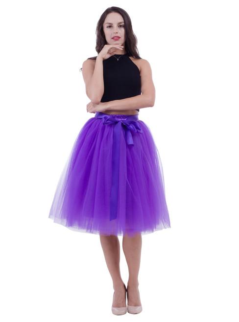 Dark Purple Belt Puff Dance Tulle Skirt
