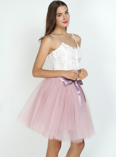 Dusty Pink 7-Layer Short Tulle Skirt