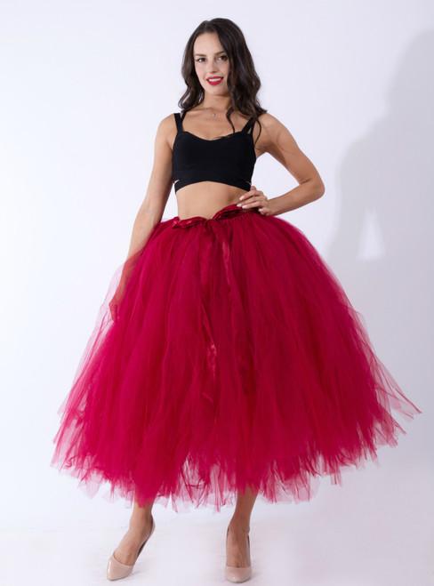 Women Burgundy Tulle Tutu Middle Skirt