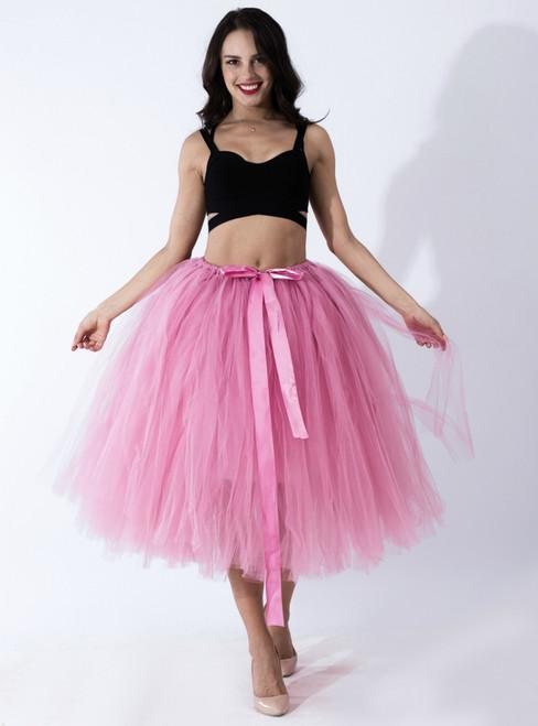 Women Rubber Red Tulle Tutu Middle Skirt