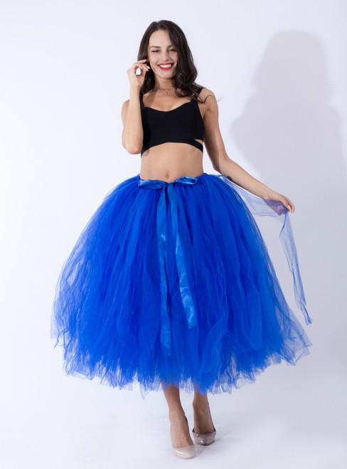 Women Royal Blue Tulle Tutu Middle Skirt