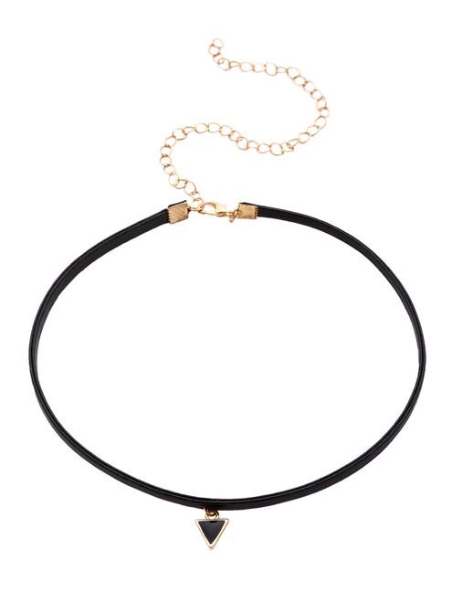 Black Triangle Pendant Thin Choker Necklace