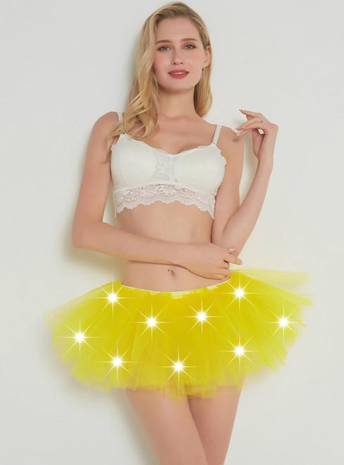 Yellow LED Tulle Mini Tutu Skirt