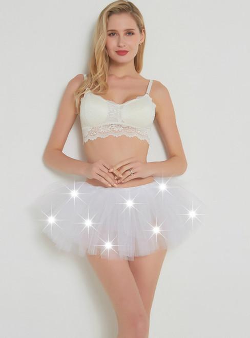 White LED Tulle Mini Tutu Skirt
