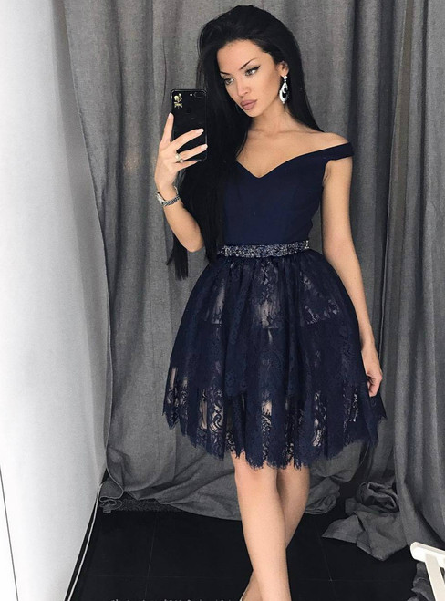 d9e60769c190 Short Off-Shoulder Homecoming Dress Lace Semi-Formal Party Gown