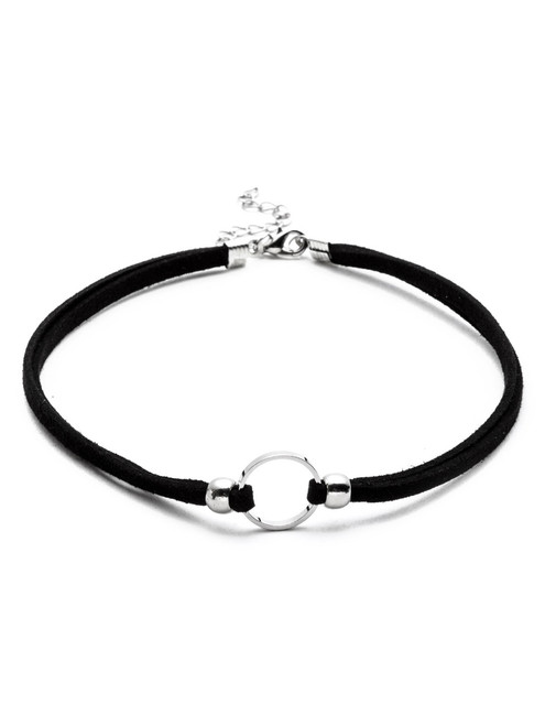 Silver Plated Circle Cord Choker Necklace